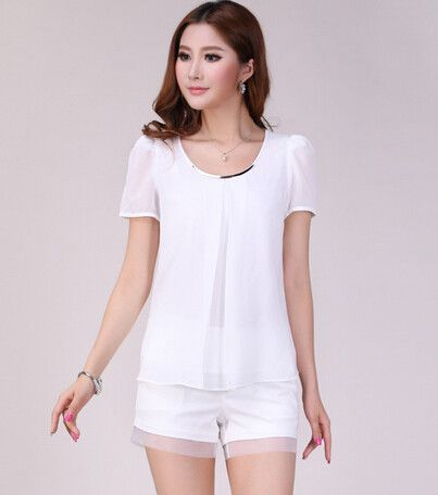 Fashionable New Trend Large Size Pure Color Chiffon Tops Fresh Summer Cozy Style Good Quality Loose Casual Blouse 7Color 9989