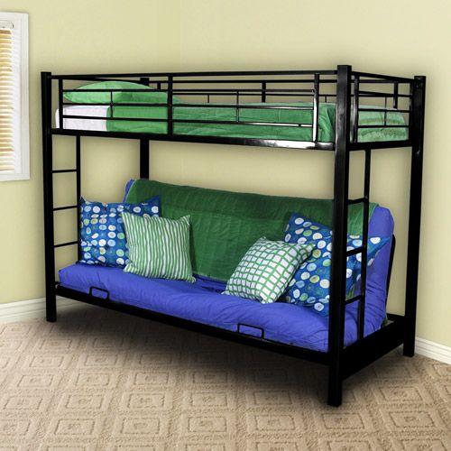 Premium Twin Over Futon Metal Bunk Bed Black Walmart Com Metal Bunk Beds Futon Bunk Bed Bunk Beds