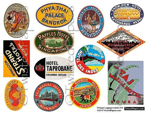 Luggage Stickers Vintage India Southeast Asia By Twistedpapers 2 00 Luggage Stickers Luggage Labels Sticker Art