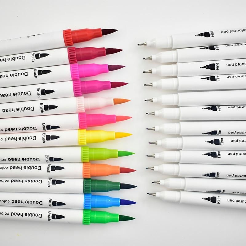 Premium Dual Tip Brush Pens And Fineliners Set Of 12 Till 100