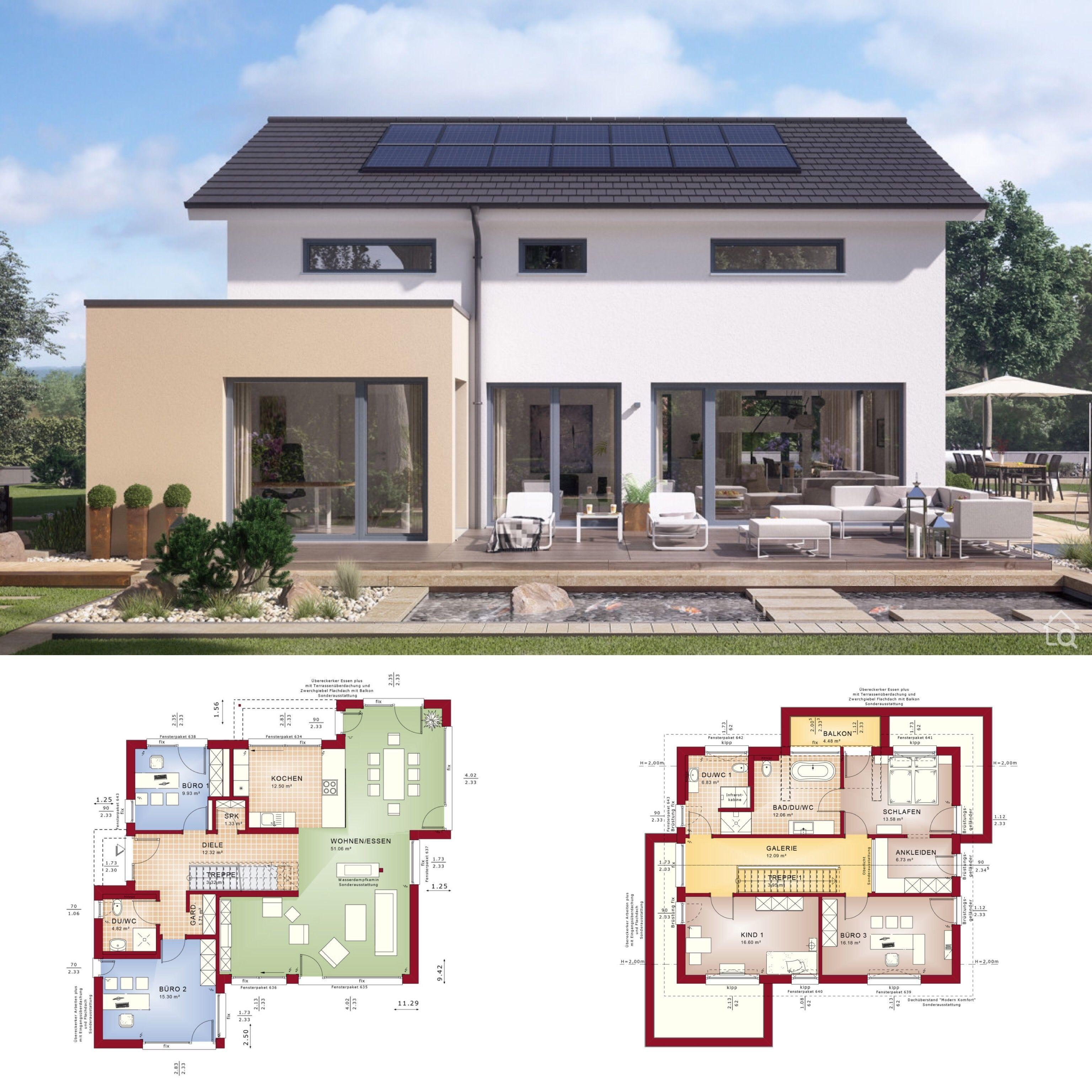 Modernes Haus Design Mit Satteldach Einfamilienhaus Ideen Mit Grundriss Architektur Haus Architektur Haus Design
