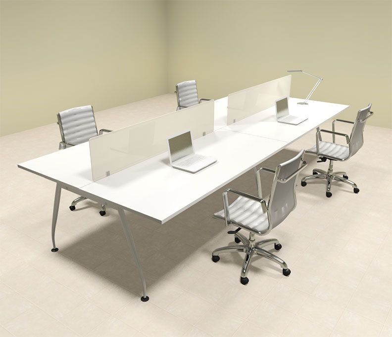 Four Person Modern Acrylic Divider Office Workstation Desk