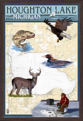 Houghton Lake, Michigan - Lake Chart - Lantern Press Artwork (24x36 Giclee Art Print, Gallery Framed, Espresso Wood), Multi