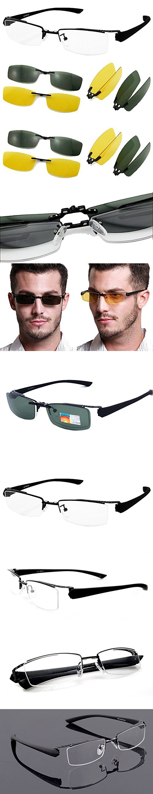 ac0e71458d8 Agstum Mens Half Rimless Myopia Glasses Frame Magnetic Clip On Sunglasses (Black  frame with 2pcs clip on