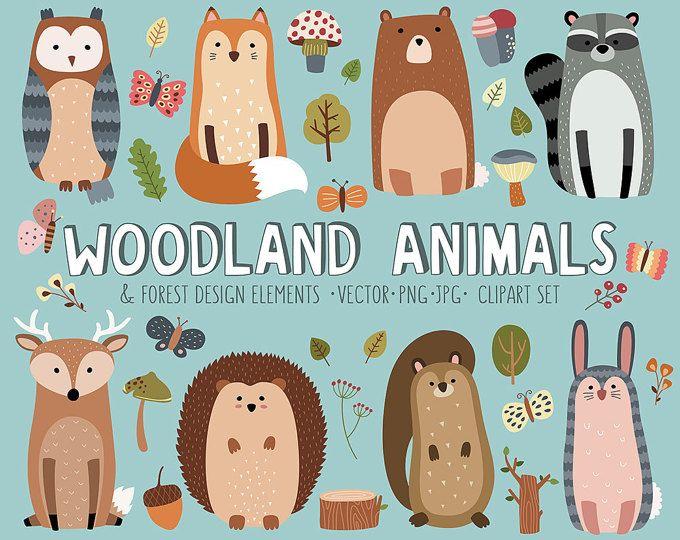 Kinderzimmer clipart  Woodland Clipart Set - süß Wald Wald Tiere Vektor Clip Art Bundle ...