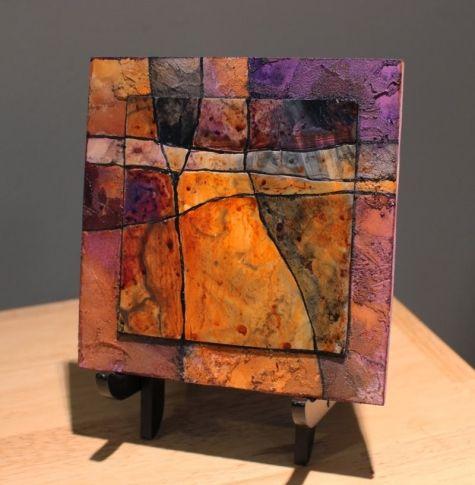 Gemstone 19 mixed media acrylic geologic abstract Carol Nelson Fine Art, painting by artist Carol Nelson