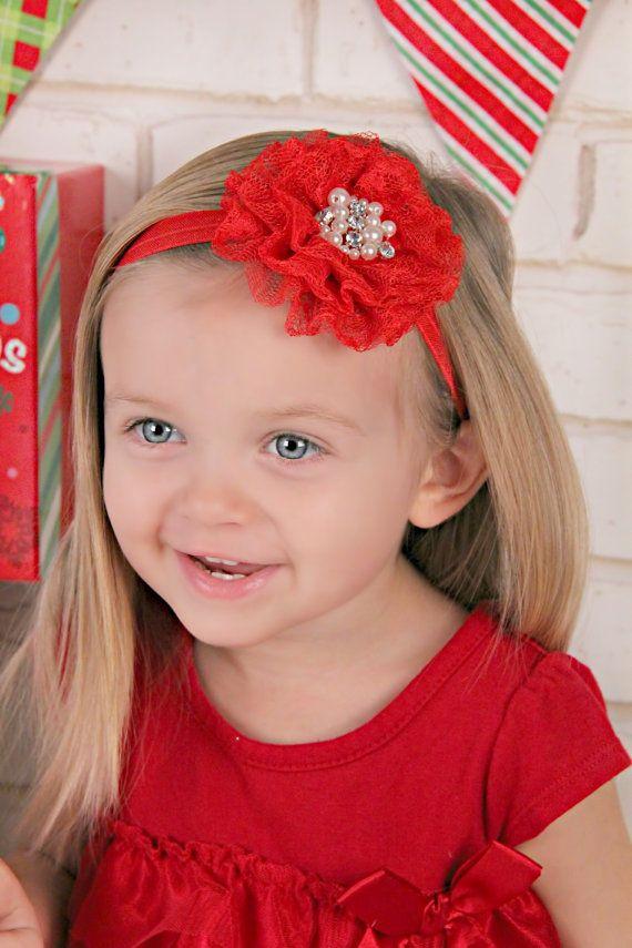 Diadema de flores de encaje rojo venda de navidad chicas - Diademas de encaje ...