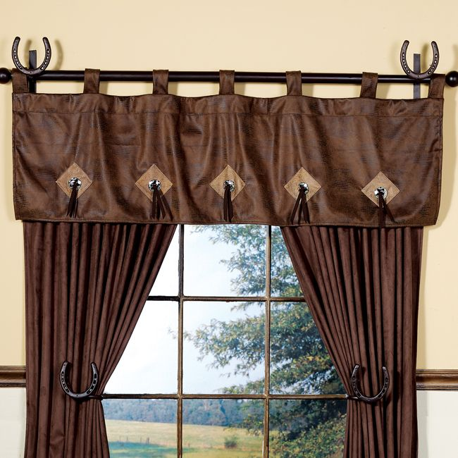 Crocodile Concho Valance Western Curtains Curtains Living Room Cabin Decor #western #curtains #for #living #room