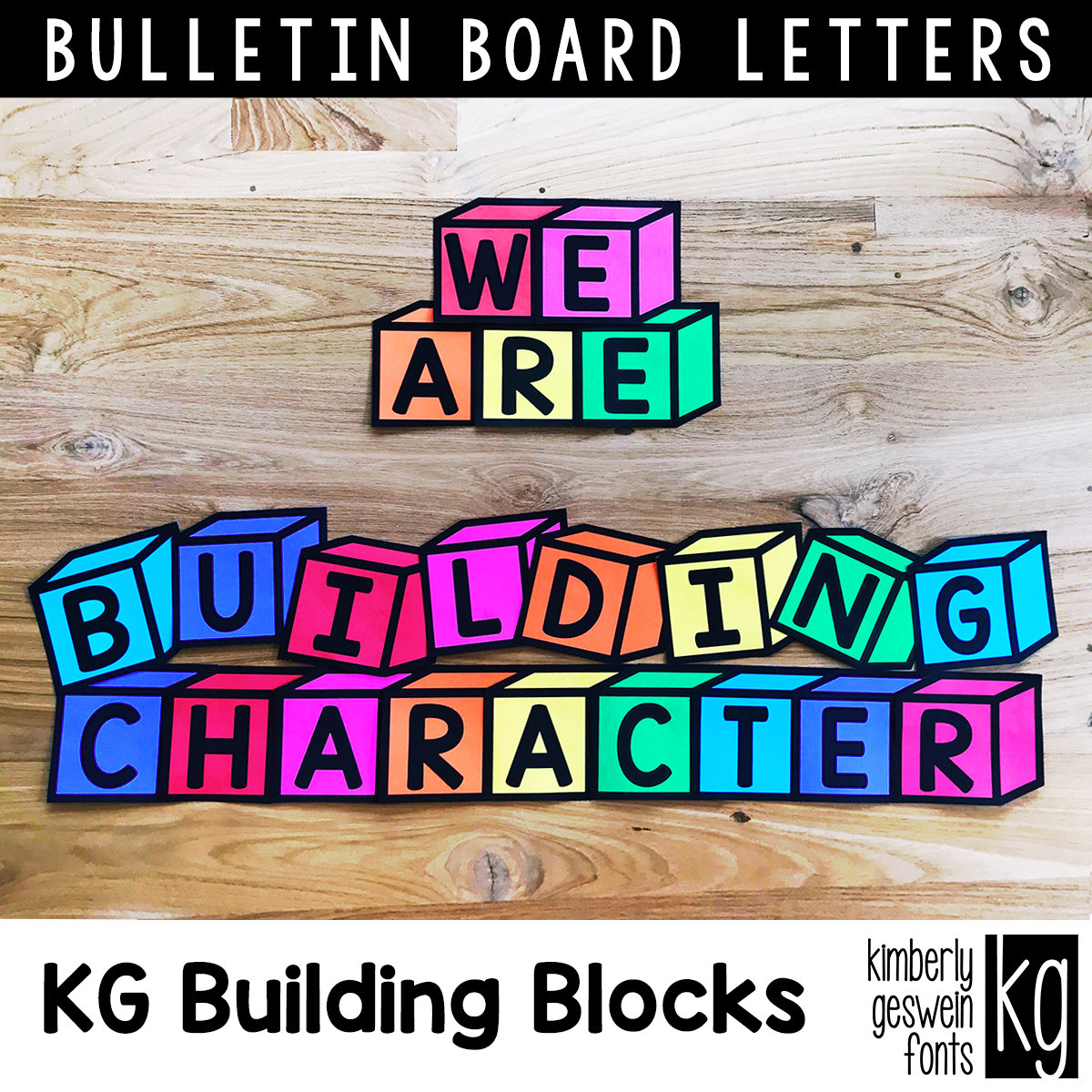 Kg Building Blocks Bulletin Board Letters No Color Ink Needed Just Print On Colored Paper And Cu Bulletin Board Letters Cute Bulletin Boards Bulletin Boards