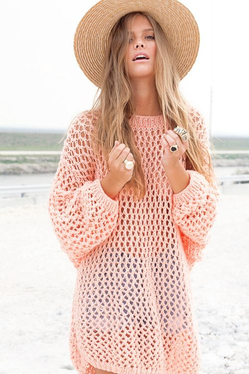 perfect look for the beach, love the oversized sweater over a ...
