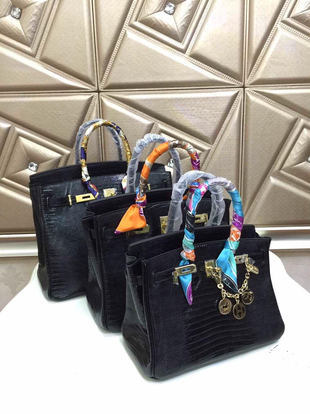 7cd5492138a9 Hermes Birkin 25 30 35 lizard pattern Bag Black