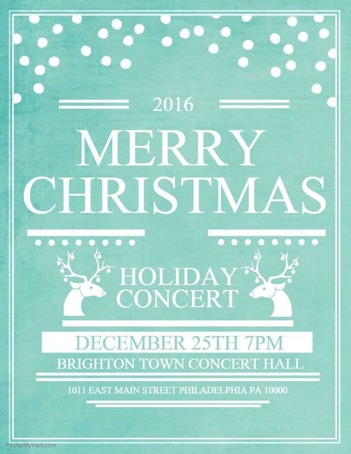 Blue Merry Christmas Holiday Concert Event Poster Template ...