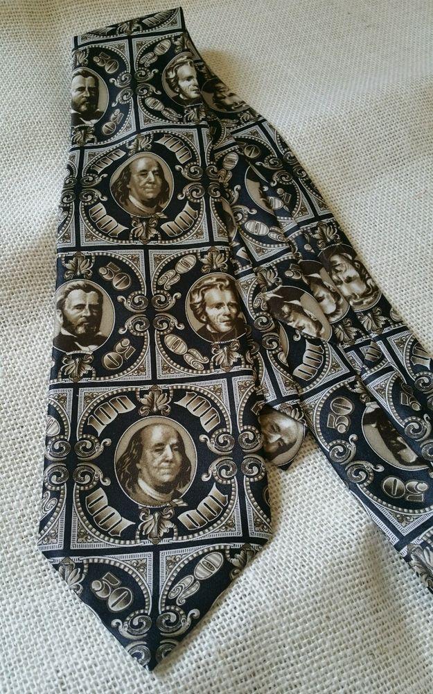 RENE CHAGAL Italian Design MONEY Dollar BillS Neck Tie US Currency NECKTIE  | eBay