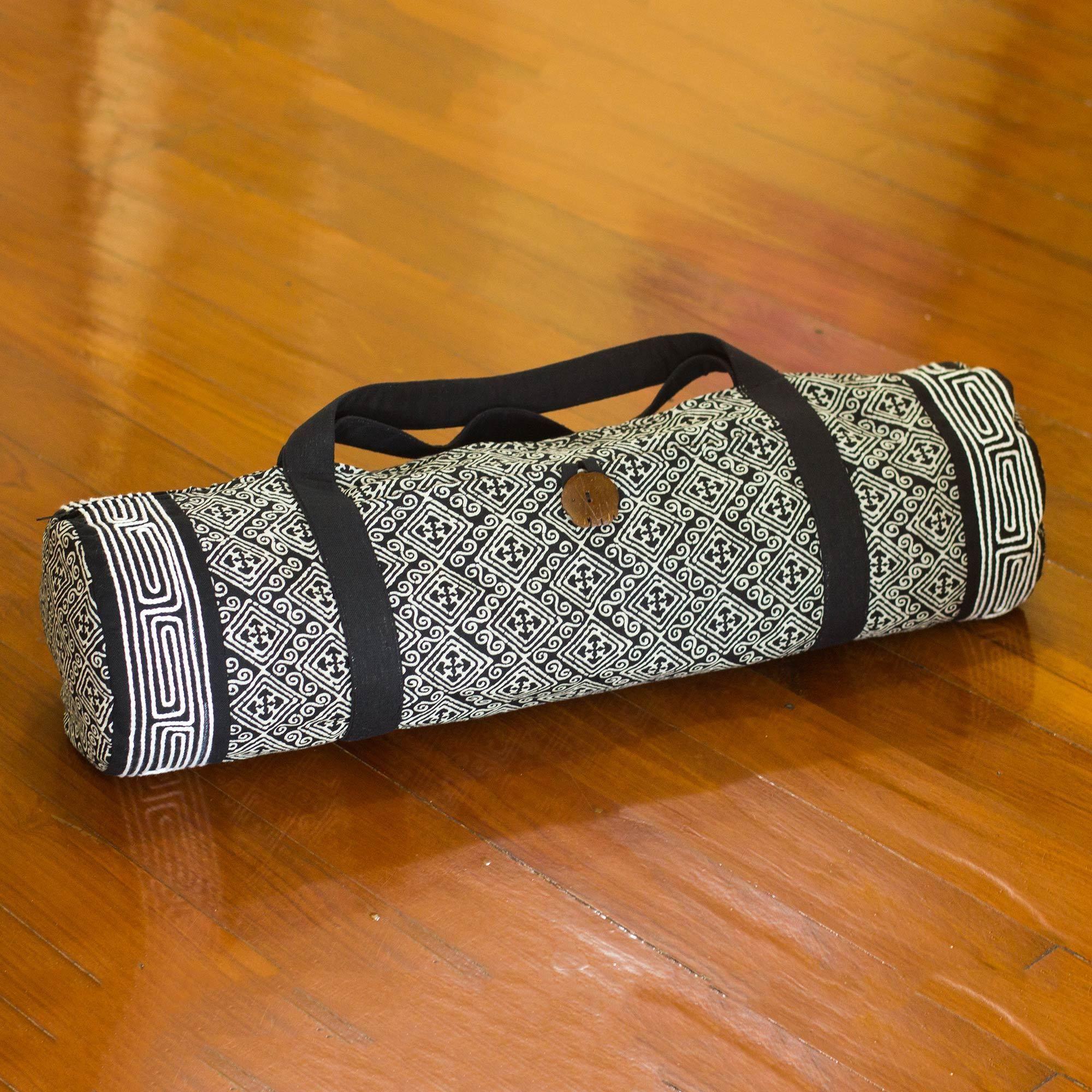 Novica Cotton yoga mat bag, Yoga Time