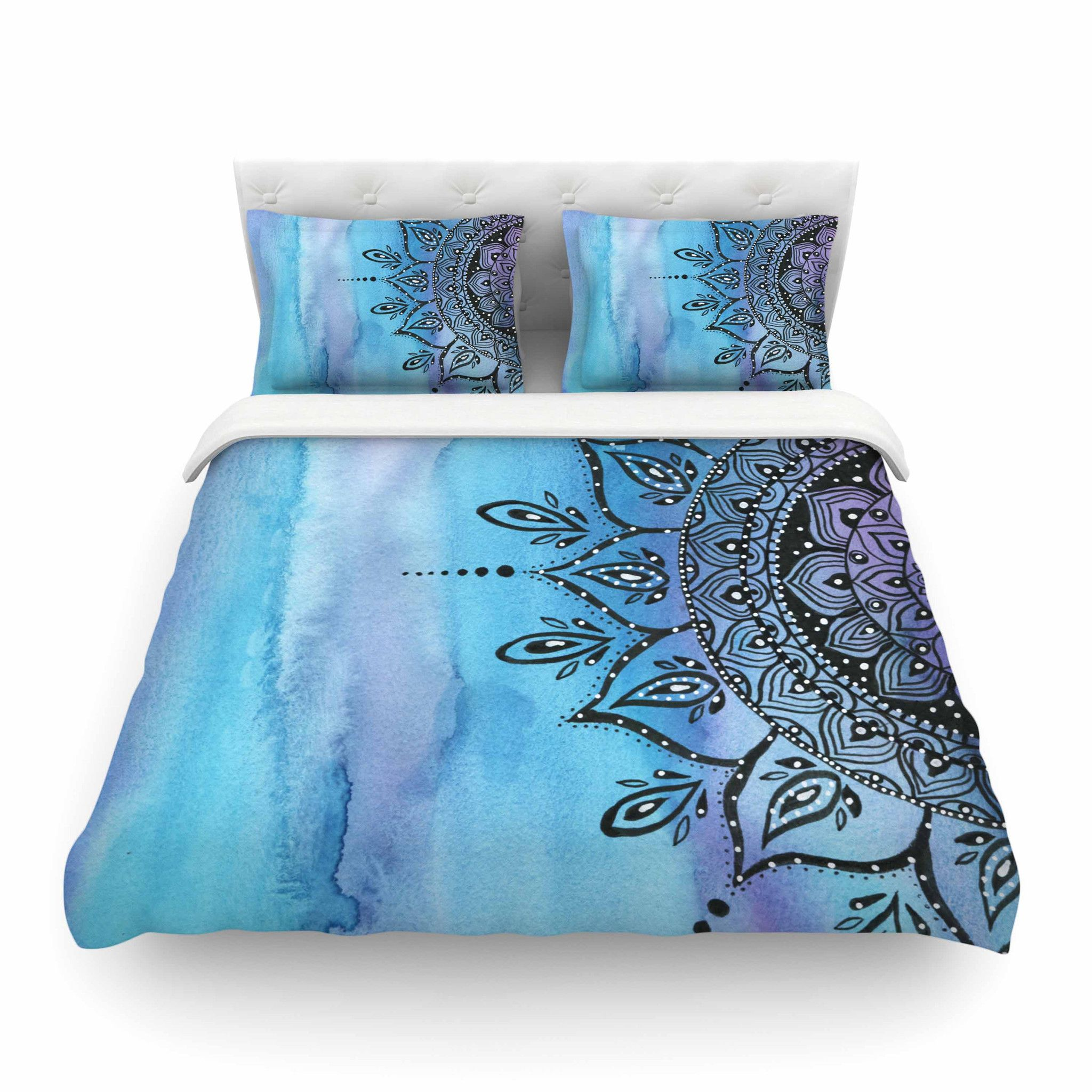 30 x 20 Pillow Sham Kess InHouse Malia Shields Blues Abstract Series 1 Green Teal