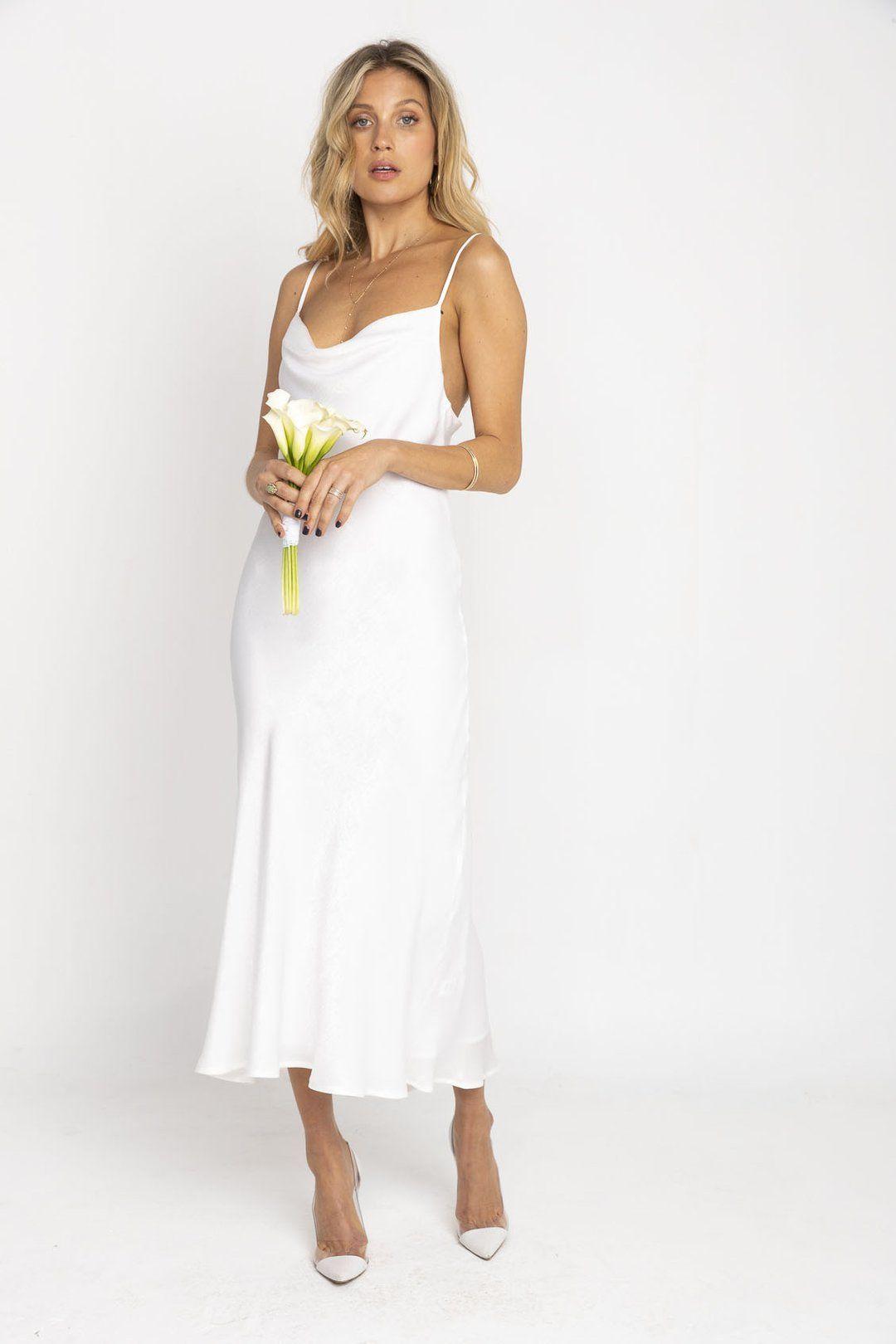 Berri Slip Tea length bridesmaid dresses, White slip
