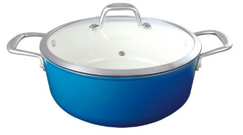 Le Cuistot Enameled CastIron 63 Quart Round Casserole with Glass Lid  2 Tone Blue *** Check out this great product.(This is an Amazon affiliate link)