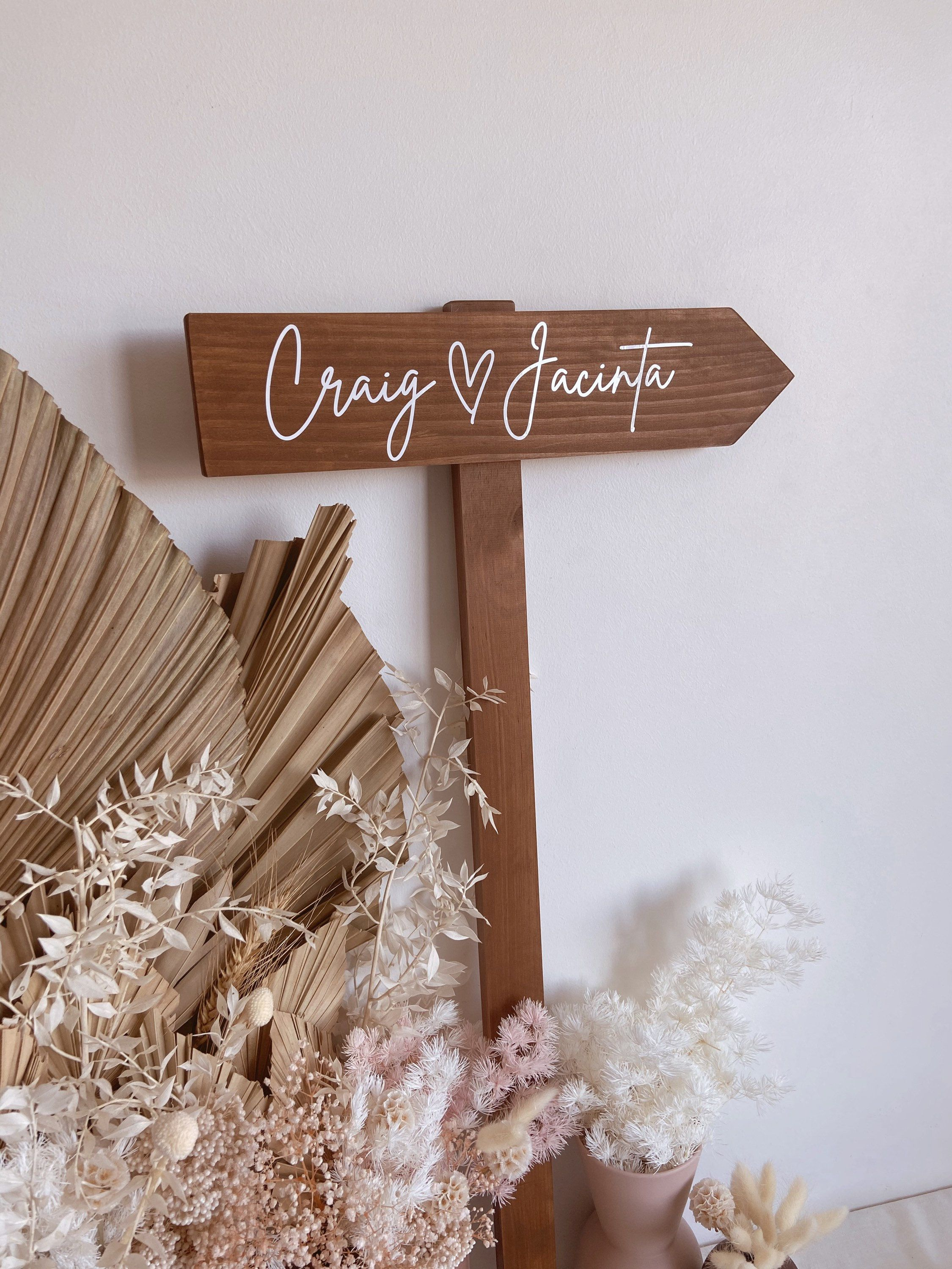 Arrow Direction Wedding Sign Directional Wooden Timber Signage With Stake Personalised Custom Ceremony Reception Sign Welcome Sign Wedding Signs Reception Signs Wedding Direction Signs