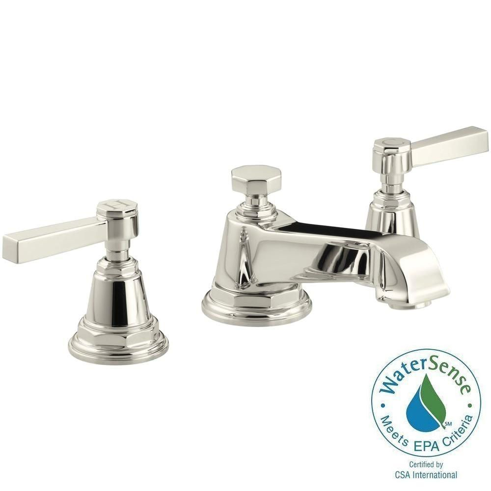Kohler Pinstripe Pure 8 In Widespread 2 Handle Bathroom Faucet In Polished Chrome Widespread Bathroom Faucet Brass Kitchen Faucet Bathroom Faucets