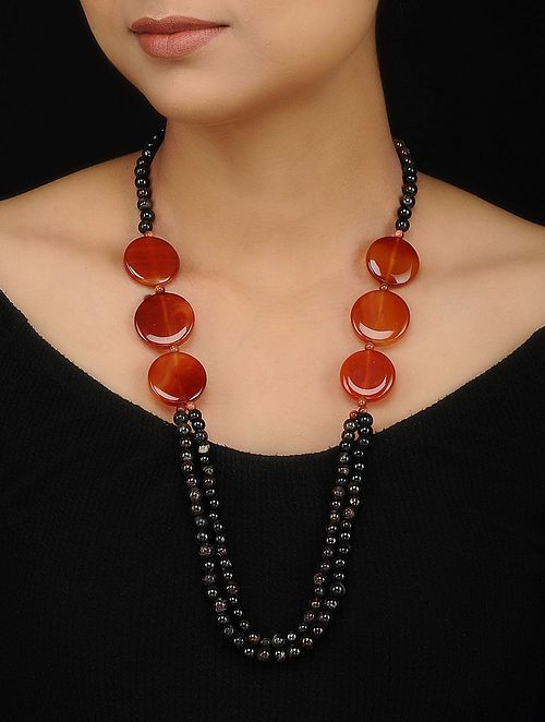 Photo of Buy Black Brown Onyx and Quartz Beaded Necklace Online at Jaypore.com