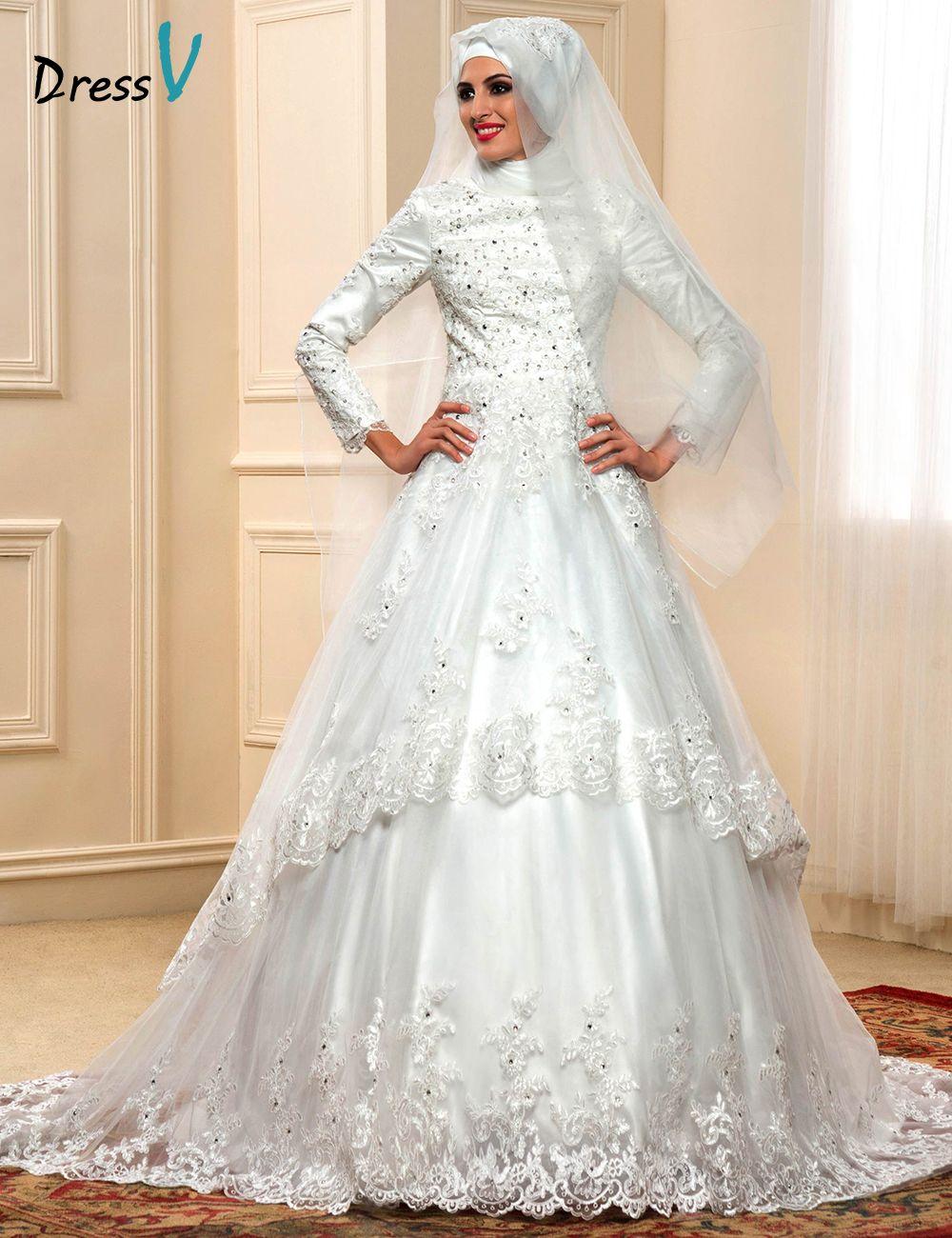 Click To Buy Elegant Muslim Turtleneck Wedding Dresses With Long Sleeves 2017