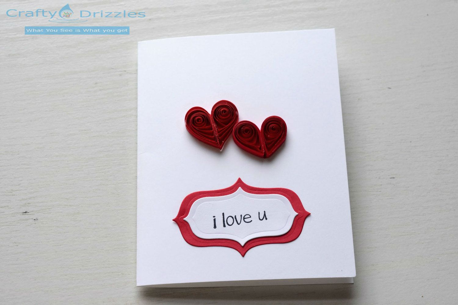 handmade unique quilling greeting card - love card - anniversary