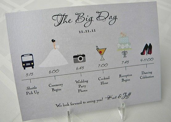 This Is A Really Cute Idea  A Pictorial Wedding Day Itinerary For