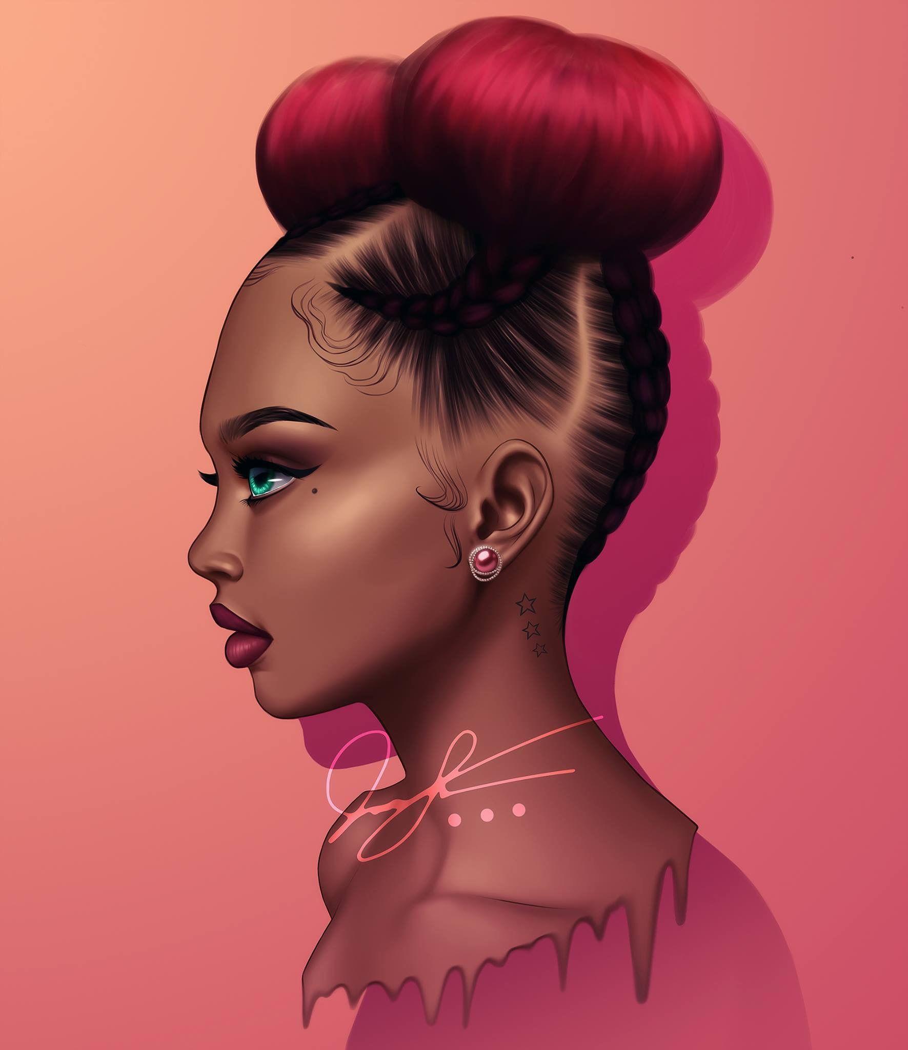 Myianayamyia Art Art Afro Américain Dessin De Fille Et