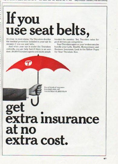 1965 Travelers Insurance Vintage Ad Seat Belts Travel