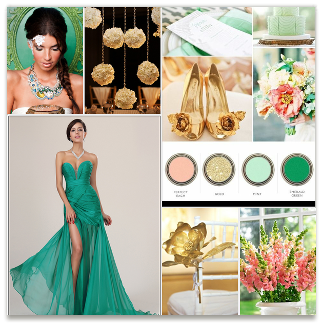 Perfect Peach, Gold, Mint, Emerald Green, Pink