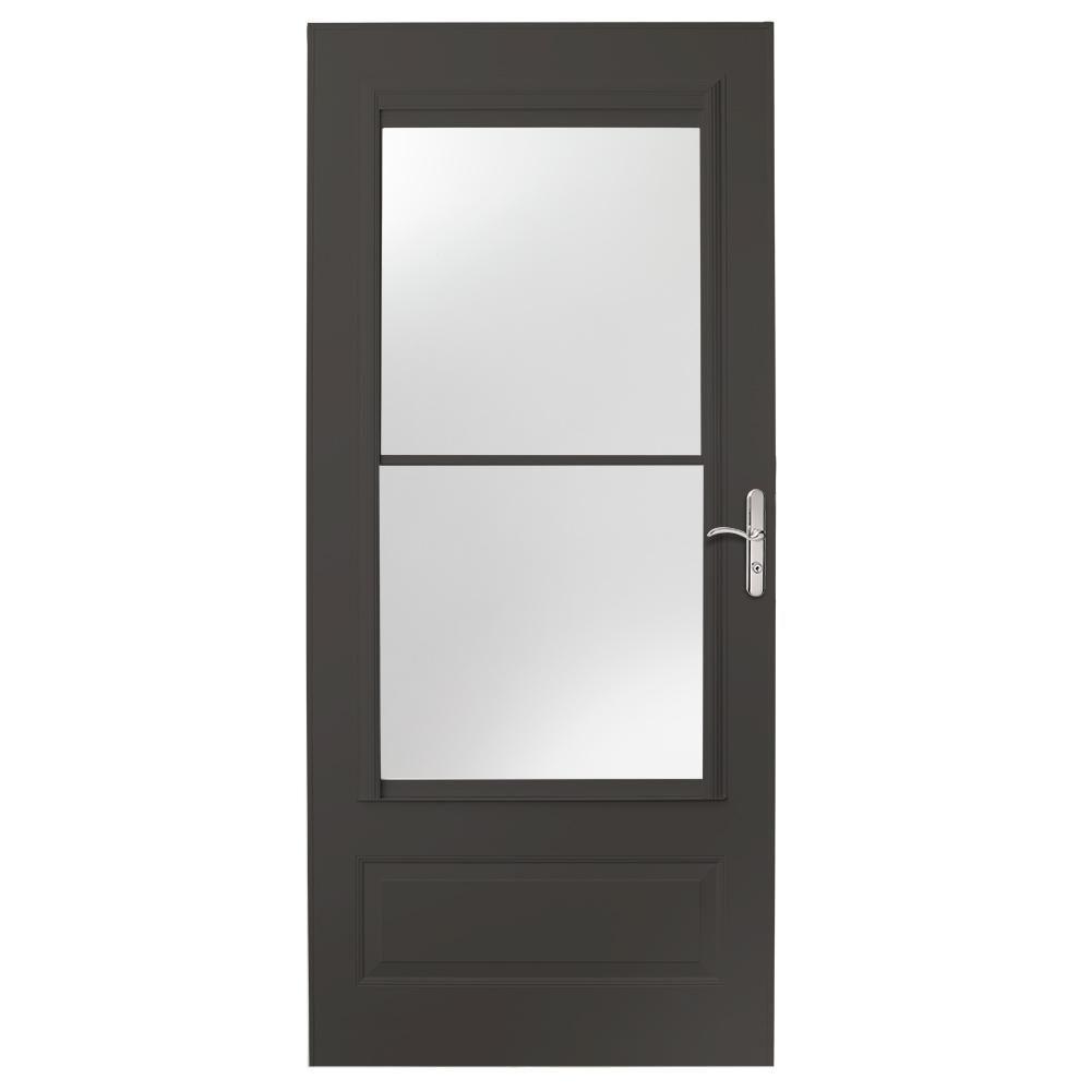 Emco 36 In X 80 In 400 Series White Universal Self Storing Aluminum Storm Door With Nickel Hardware E4sn36wh Aluminum Storm Doors Home Depot Hardware
