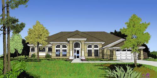Plan de la casa contemporánea mediterránea Florida 63320 Elevación