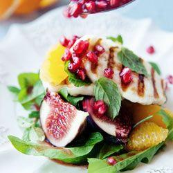 Halloumi-sitrus-viikuna-granaattiomena-rucola-sitruunamelissa