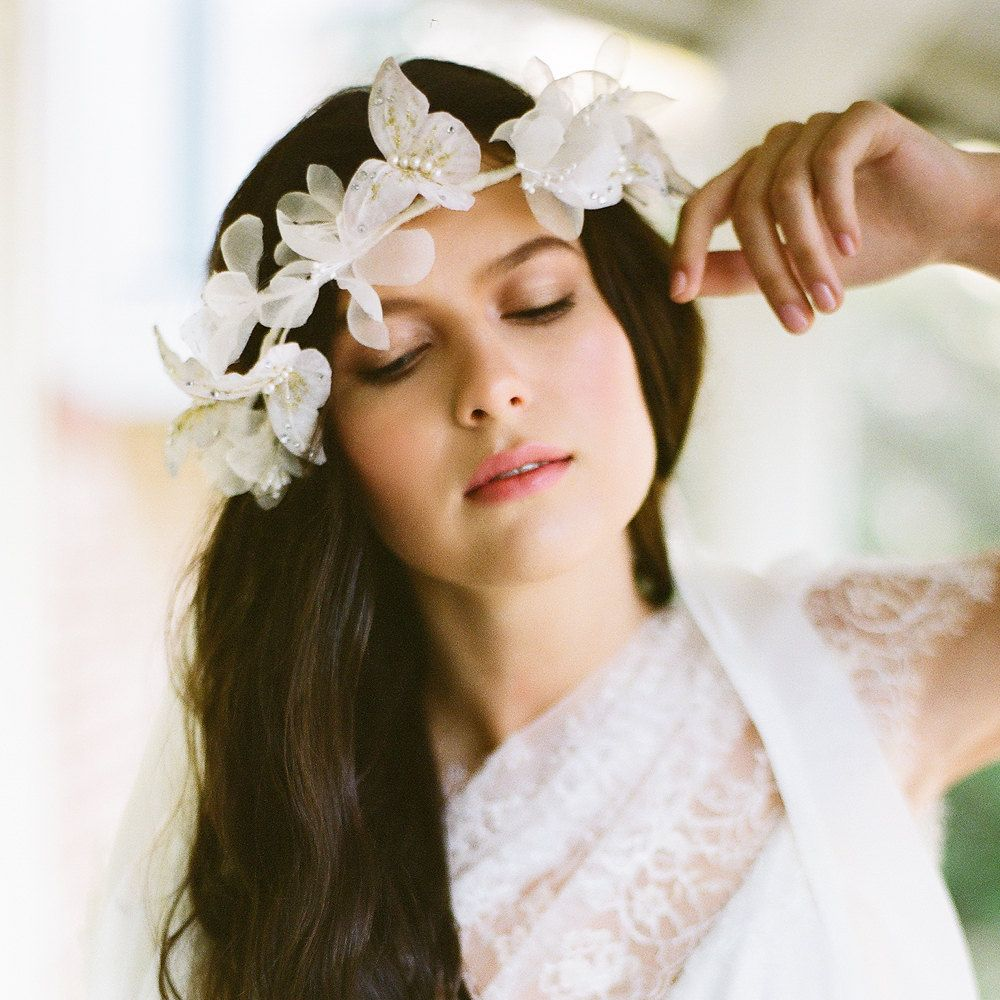 wedding hairstyles with most romantic hair accessories silk