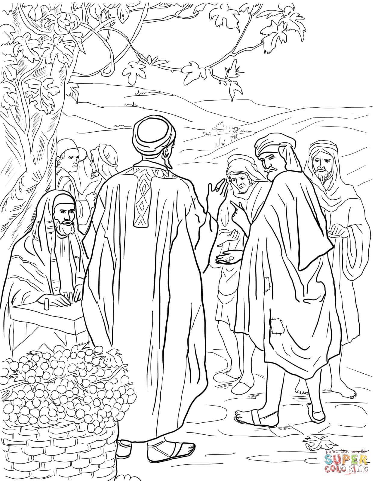 Parable Of The Workers In The Vineyard Coloring Page From