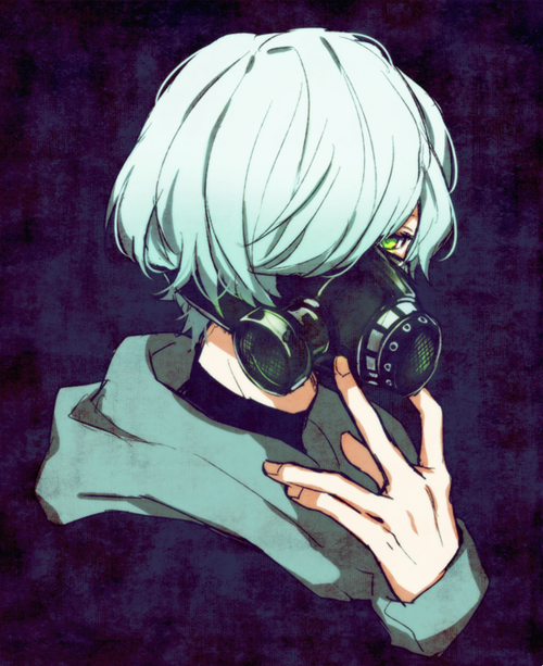 Anime Art Boy Pretty Blue And Gas Mask Image Anime Gas Mask Gas Mask Gas Mask Art