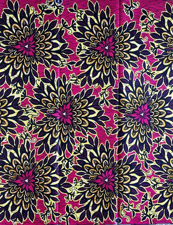 02b9b3d4b29fd African Print Fabric/ Dutch Wax/ Ankara Pink Yellow Navy | african ...