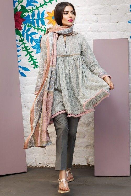a5e722a90a PAKISTANI FASHION Khaadi 3 Piece Stitched Printed Lawn Suit - A17211-B -  GREY