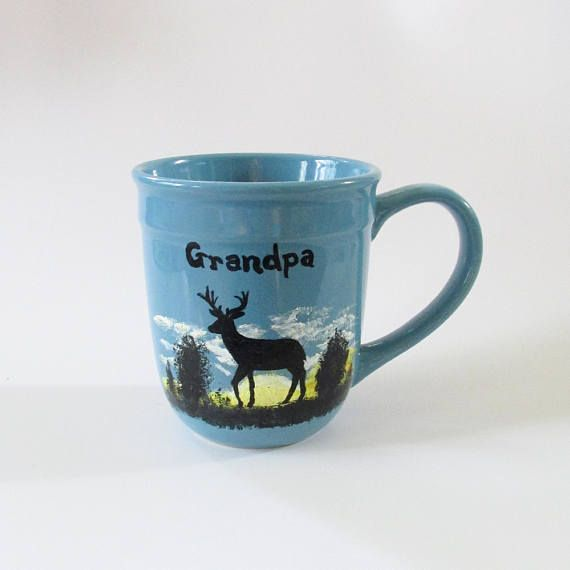 Extra Large Blue Personalized Coffee Mug For Grandpa Deer
