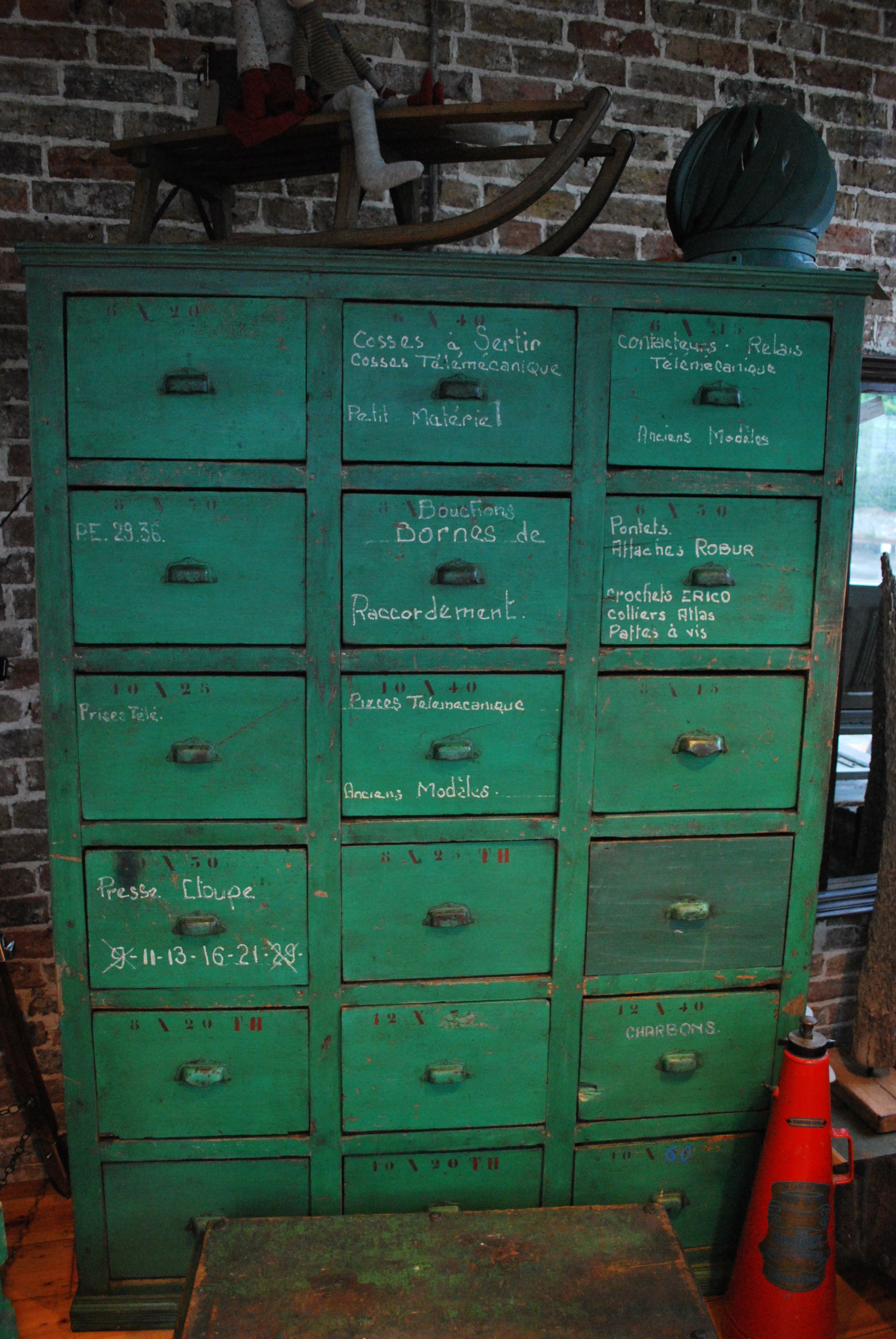 Large Bank Of Painted European Drawers Available At