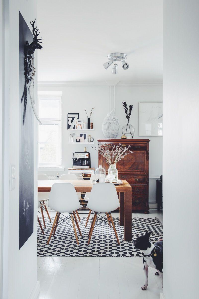 black + white + wood + chalkboard + modern vintage mix | interiors ...