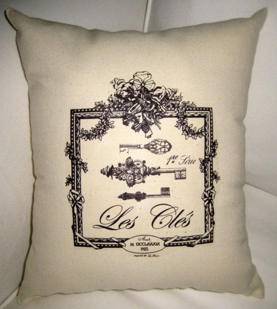 French Keys Pillow, Paris Inspired Shabby Chic Cushion, Neutral Home Decor, French  Words