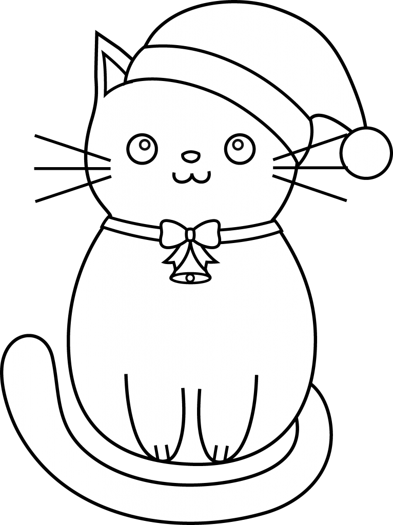 Delightful Christmas Kitten Coloring Page