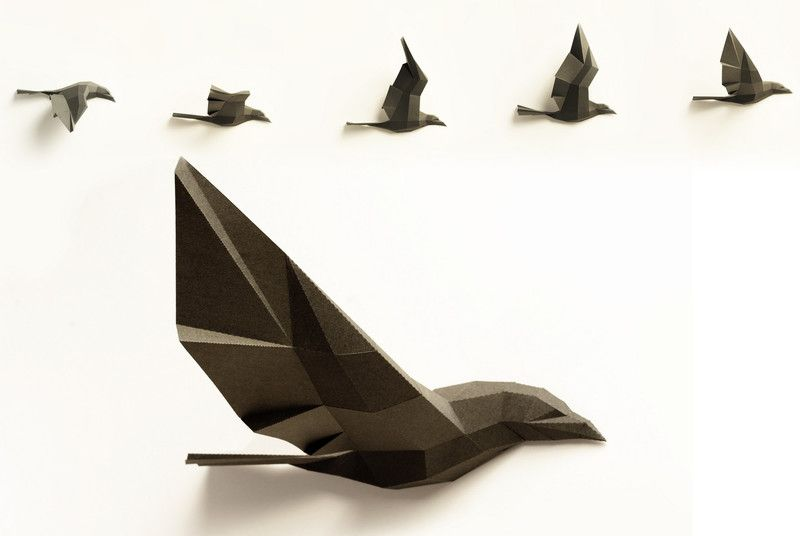 wandskulptur aus papier vogel dunkelgrau 5 raben wanddeko vogel und skulptur. Black Bedroom Furniture Sets. Home Design Ideas