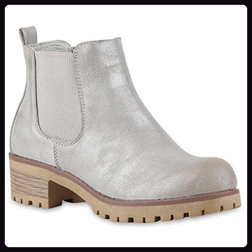 Chelsea Boots Damen Plateau Stiefeletten Profil Sohle Schuhe