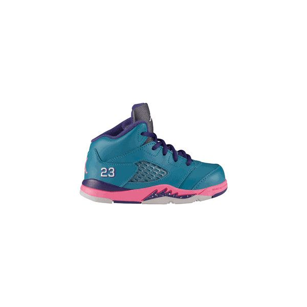 9937f16b44017e Toddler s Air Jordan 5 Retro (Tropical Teal-White-Digital Pink-Court Purple)  found on Polyvore featuring polyvore