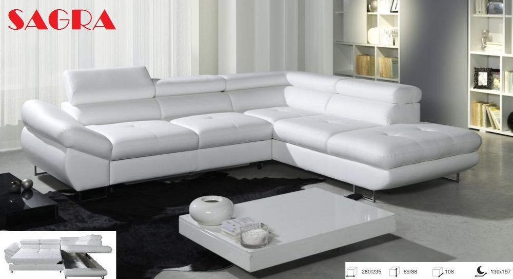 New Leather Corner Sofa Levante White Grey Brow Black Fabric 2 3 Seater Sagra Leather Corner Sofa White Leather Sofas Corner Sofa Bed