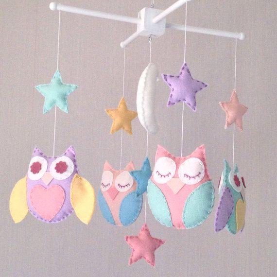 Baby Mobile Owl Moon And Stars Crib Cot By Ellaandboo