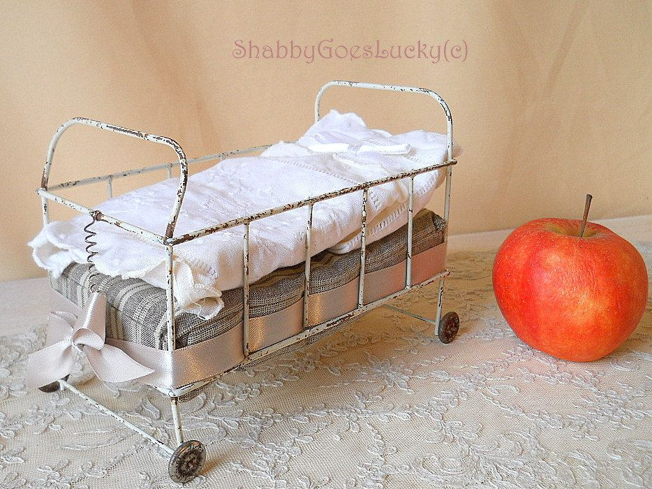 Metal Doll Bed On Tin Wheels Small Vintage 1950s Doll Cot