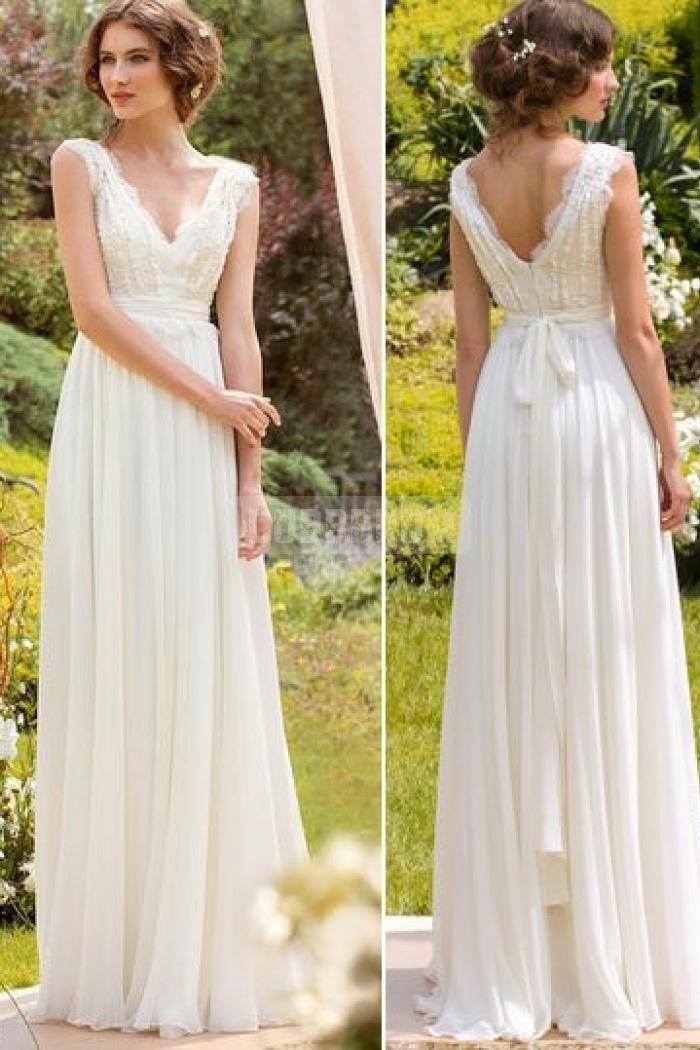 V-neck Chiffon Sleeveless A-line Sash Lace Wedding Dress ... 73f7f4ca1c6e